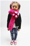 Меховой шарф Мишка для взрослых и детей Розовый