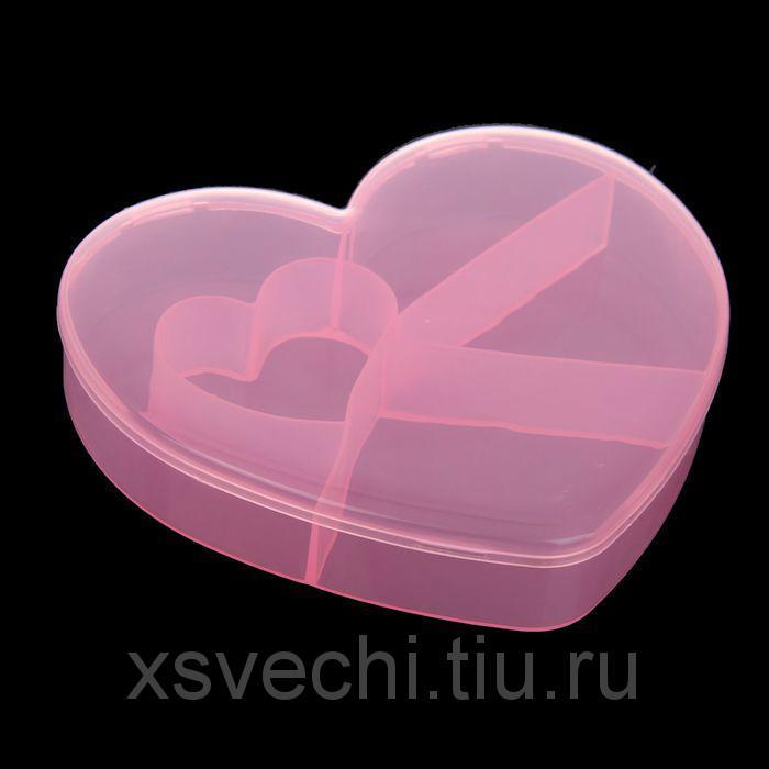 """Шкатулка пластик для мелочей """"Сердце"""" МИКС 2,8х12,5х13,5 см"""