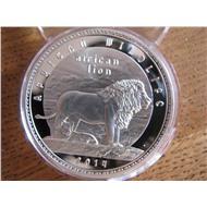 Замбия лев ФАУНА 2014 г. (серебро ПРУФ)