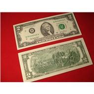 Редкая купюра 2$ доллара США на удачу