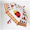 Зонт детский полуавтомат прозрачный Божьи коровки со свистком D-84см. №93
