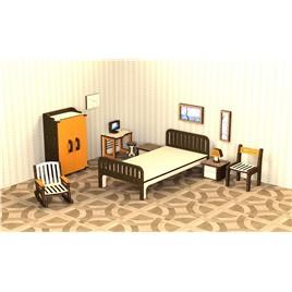 """M-WOOD Кукольная мебель деревянная M-WOOD """"Спальня"""" 13  предметов"""