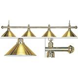 Лампа на четыре плафона «Elegance» (золотистая штанга, золотистый плафон D35см), интернет-магазин товаров для бильярда Play-billiard.ru