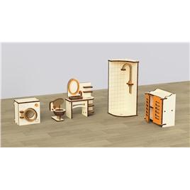 """M-WOOD Кукольная мебель деревянная M-WOOD """"Ванная"""" 5  предметов"""