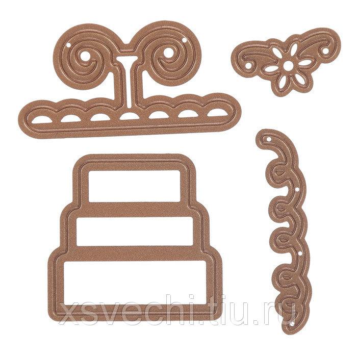 Набор ножей для вырубки, тиснения и нанесения узора по трафарету  «Многоярусный торт» 3 шт