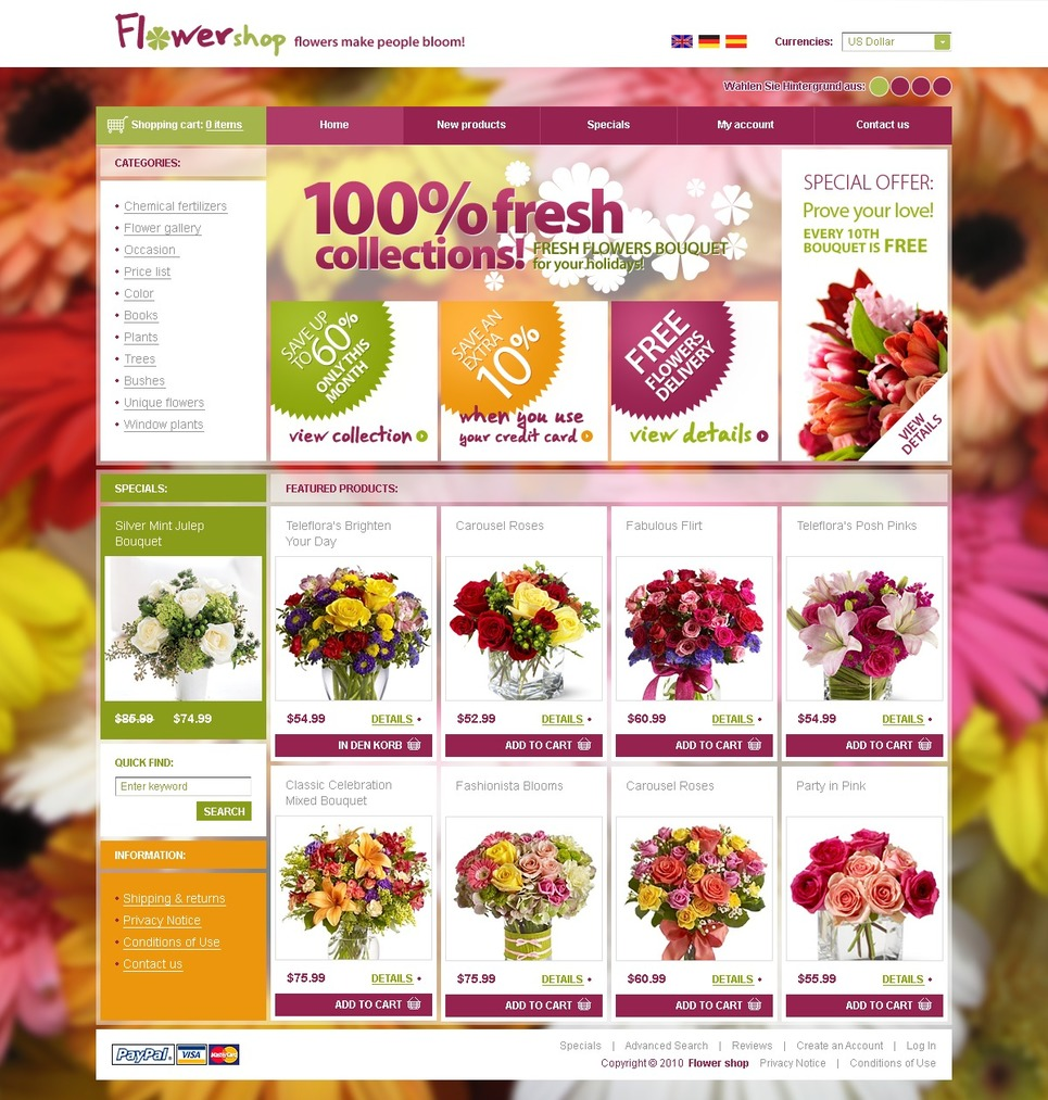e commerce model for online flower store