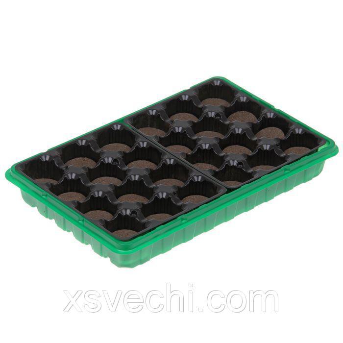 Набор для рассады: торфяная таблетка d=4.1 см - 24 шт., кассета 24 ячейки по 50 мл, поддон