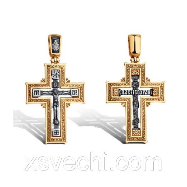 Позолоченный крест из серебра с чернением 001 - п