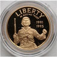 США 5 долларов 1995 пруф 8.359гр., 900проба золото