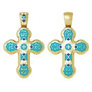"""Крест """"Спаси и сохрани"""" № 19.009 голубая эмаль, серебро 925° с позолотой"""