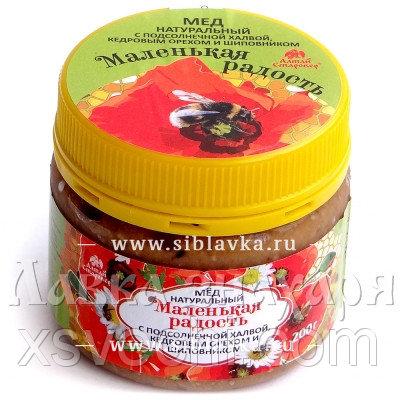 Мед «Маленькая радость» с халвой, кедровым орехом и шиповником