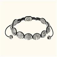 Православный браслет «10 заповедей» из серебра на черной нити