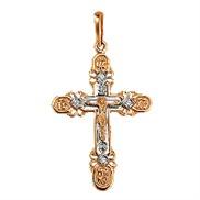Крест золотой с фианитами № 20498, золото 585°