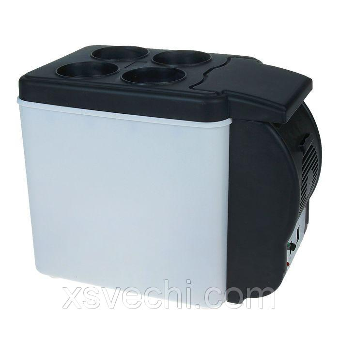 Холодильник автомобильный 6 литров, 12V,с функцией подогрева, ЧЕРНО-БЕЛЫЙ
