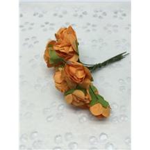 Букетик роз бумажный цвет: оранжевый (orange). Размер цветка 15мм