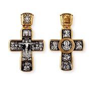 """Крест большой, """"Распятие Христово с предстоящими. Апостол Петр. Икона Божией Матери Знамение с пророками"""", серебро 925°, с позолотой"""