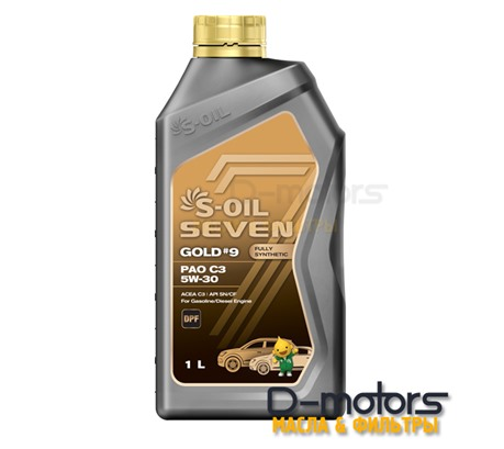 Моторное масло S-OIL 7 GOLD #9 PAO C3 5W-30 SN/CF (1л)