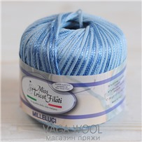 Пряжа Milleluci Color цвет Голубой 21, хлопок с вискозой,  137м/50гр Miss Tricot Filati