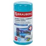 Салфетки антибактериальные для экранов и пластика Brauberg XXL 100 шт в тубе 513476