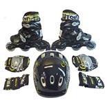 Набор: коньки роликовые, защита, шлем PW-120B (р.31-34)