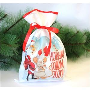 Новогодний мешок для конфет и подарков 30х40 см. С Новым годом 2020!