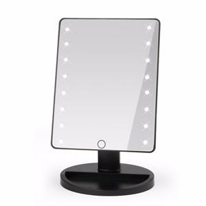 Косметическое зеркало с подсветкой large led черное