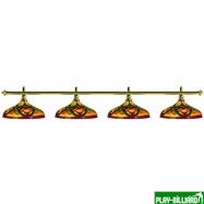 Weekend Лампа на четыре плафона «Colorful» (золотистая штанга, цветной плафон D44см), интернет-магазин товаров для бильярда Play-billiard.ru