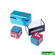 Ball Teck Мел «Ball teck PRO II» (2 шт, в бирюзовой металлической коробке) синий, интернет-магазин товаров для бильярда Play-billiard.ru. Фото 5