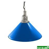 Weekend Лампа на один плафон «Blue Light» (серебристая чашка, синий плафон D35 см), интернет-магазин товаров для бильярда Play-billiard.ru