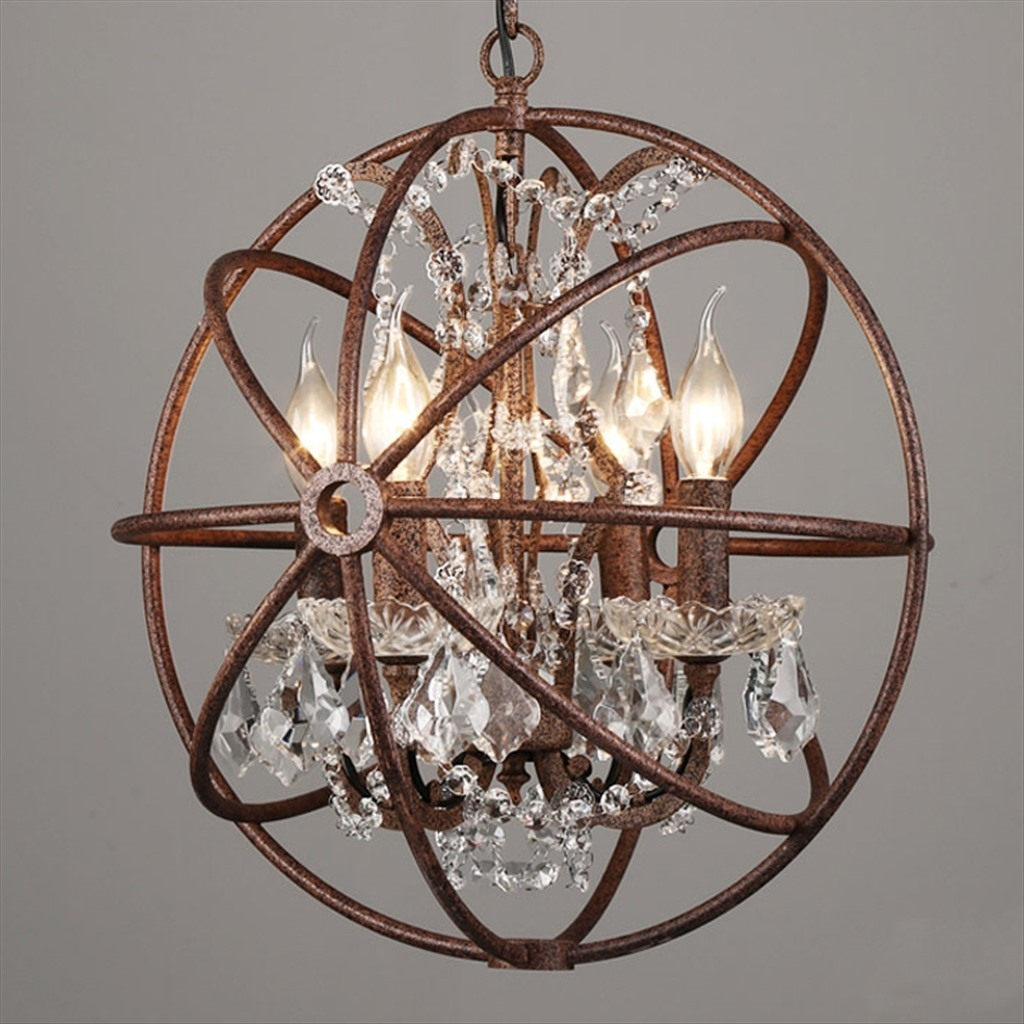 "Подвесная кованая люстра ""Кованый шар"" с хрусталем, 4 лампы"