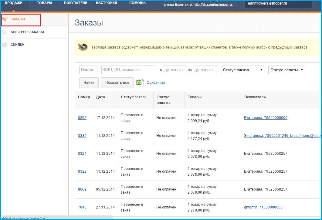 Заказы в интернет-магазине на Eshoper.ru