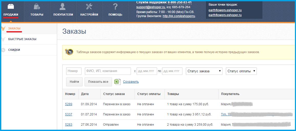Обработка заказов в интернет-магазинах на Eshoper.ru