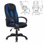 Кресло компьютерное Бюрократ Viking-9/BL+BLUE экокожа/ткань, черно-синее
