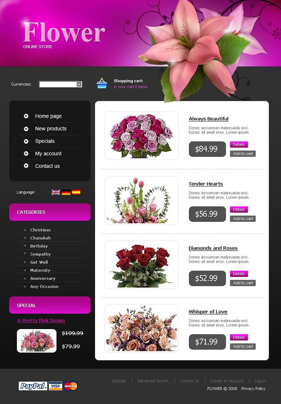 Шаблоны Интернет Магазинов Цветов
