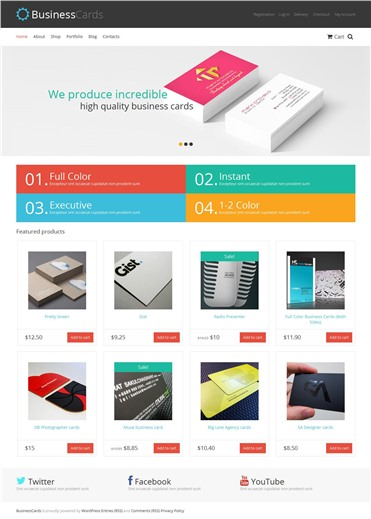 Responsive Business Cards Store