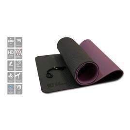 Коврик для йоги 10 мм двухслойный TPE черно-фиолетовый