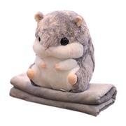 Плед-подушка Хомяк 3 в 1 с муфтой для рук Серый
